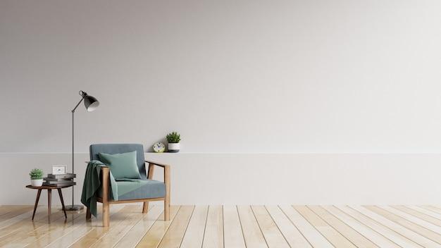 Het interieur heeft een fauteuil met witte lege mockupwand en beige fauteuil. Premium Foto