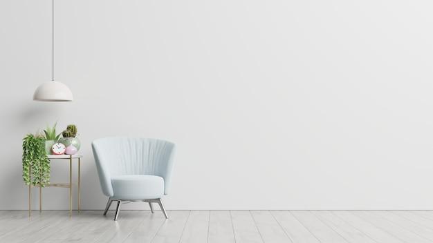 Het interieur heeft een fauteuil op lege witte muur achtergrond, 3d-rendering Gratis Foto