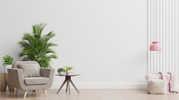Het interieur heeft een fauteuil op lege witte muur Gratis Foto