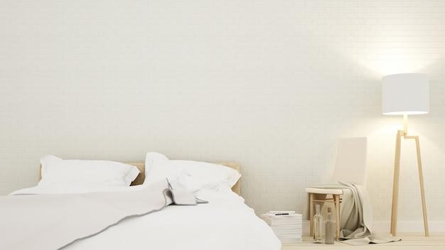 Het interieur slaapkamer ruimte minimaal ontwerp in appartement