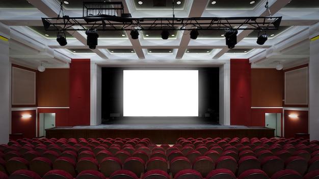 Het interieur van de hal in het theater of bioscoop uitzicht op het podium Premium Foto