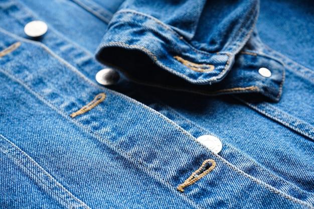 Het jasjeclose-up van jeans van vrouwen blauw Premium Foto
