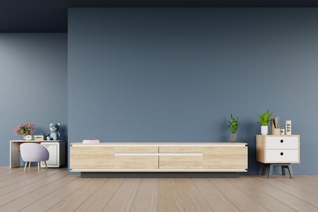 Het kabinet van tv in moderne lege ruimte en de ruimte van kinderen op donkere muur Premium Foto