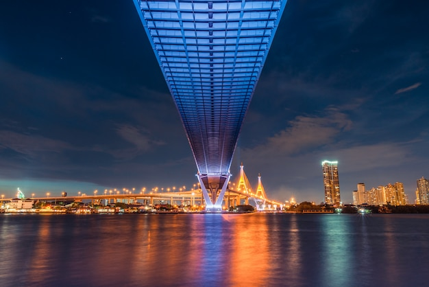 Het landschapsmening van de zonsondergang van onder wegbrug Premium Foto