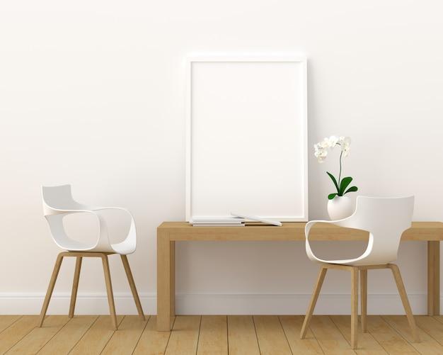 Het lege fotokader voor model in moderne 3d woonkamer, geeft, 3d illustratie terug Premium Foto