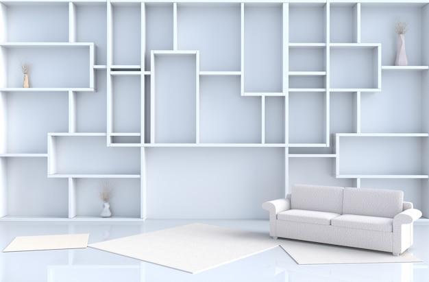 Het lege witte woonkamerdecor met 3d plankenmuur, geeft terug Premium Foto