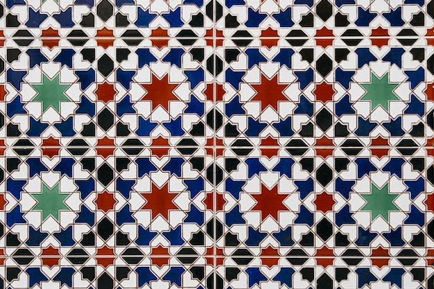Het marokkaanse mozaïek van nice betegelt muurachtergrond Gratis Foto
