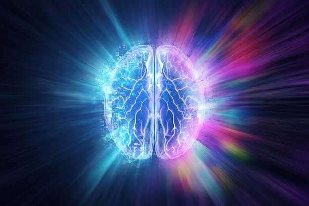 Het menselijk brein op een blauwe achtergrond, het halfrond is verantwoordelijk voor logica Premium Foto