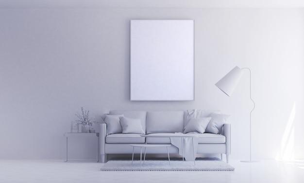 Het minimale interieur woonkamerontwerp en de witte kleur geschilderde textuurmuur Premium Foto