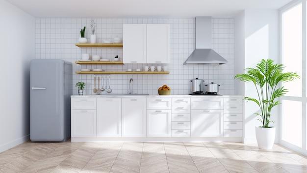 Het moderne binnenland van de keuken witte ruimte Premium Foto