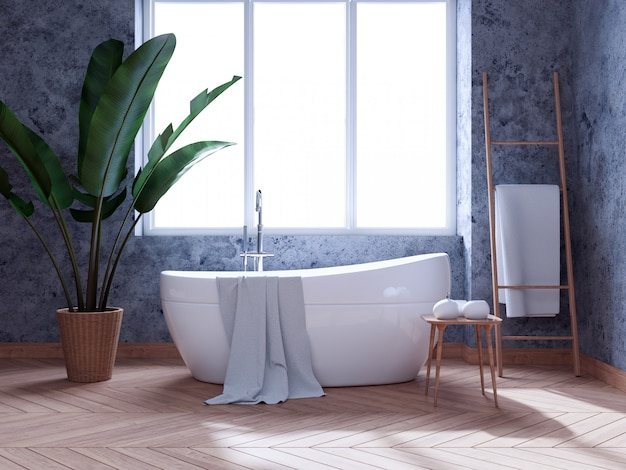 Het moderne binnenlandse ontwerp van de zolderbadkamers, witte badkuip op concrete 3d muur, geeft terug Premium Foto