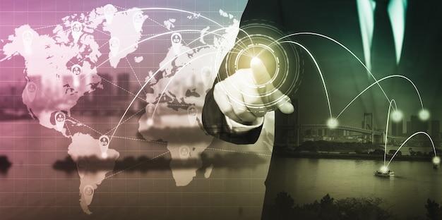 Het moderne creatieve communicatie- en internetnetwerk maakt verbinding in smart city Premium Foto