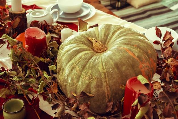 Het mooie decor van de de herfstlijst met groene pompoen Premium Foto