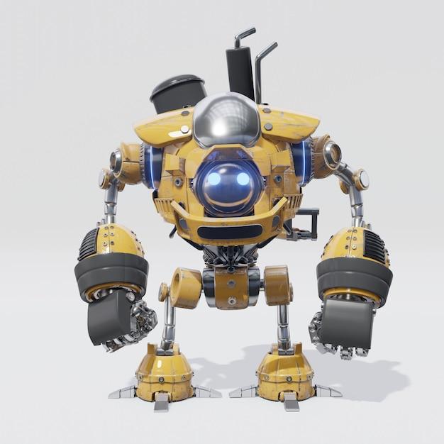 Het ontwerp van mechanische robot met een cirkelvormig geel lichaam Premium Foto