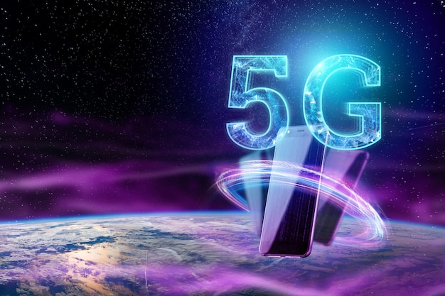 Het opschrift 5g op de achtergrond van de wereld Premium Foto