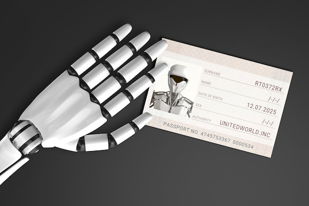 Het paspoort van de robotarmvoeding Premium Foto