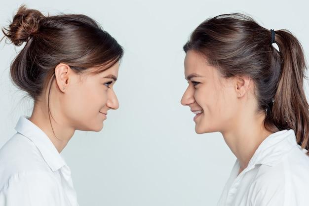 Het profielportret van de studio van jonge vrouwelijke tweelingenzusters op grijs Gratis Foto