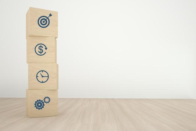 Het schikken van houten kubusblok het stapelen met pictogram bedrijfsstrategie en actieplan op houten achtergrond. minimaal concept Premium Foto