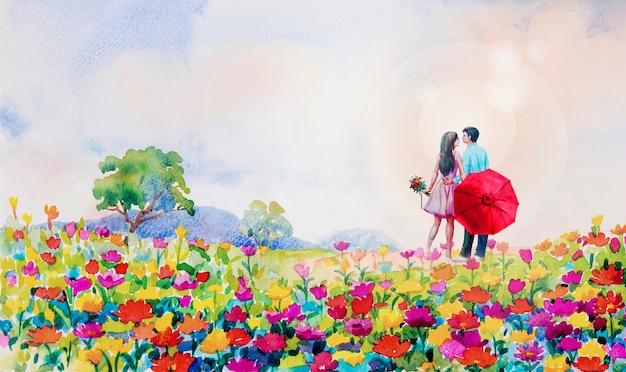 Het schilderen van het madeliefjebloemen van het waterverflandschap in tuin. Premium Foto