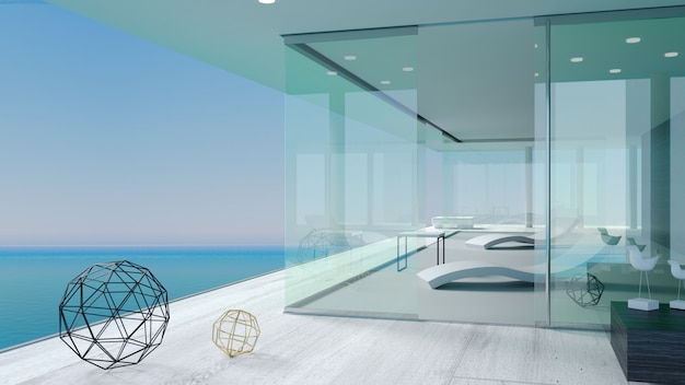 Het terras van de moderne zee villa's Premium Foto
