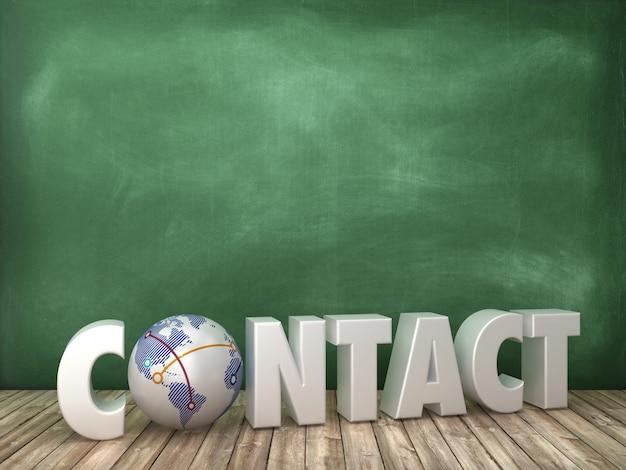 Het teruggeven van illustratie van contact word met globe world op bord Premium Foto