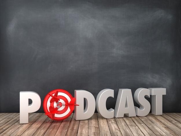 Het teruggeven van illustratie van podcast word met doel op bord Premium Foto