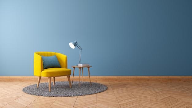 Het uitstekende binnenland van woonkamer, het decorconcept van het blauwdrukhuis, gele leunstoel met houten lijst aangaande blauwe 3d muur en houten vloer, geeft terug Premium Foto