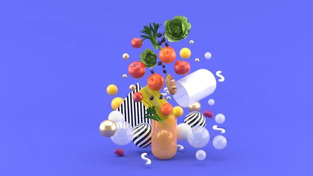 Het voedsel drijft uit de capsule te midden van kleurrijke balletjes op het paars. 3d render Premium Foto