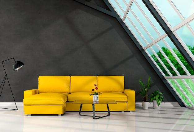 Het woonkamerbinnenland in moderne stijl, 3d geeft terug Premium Foto