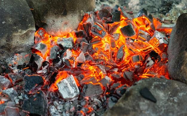Hete kolen van een kampvuur om te koken Premium Foto