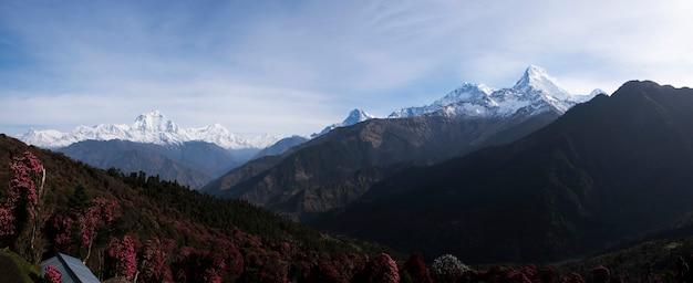 Himalaya uitzicht op de bergen vanuit het dorp Premium Foto