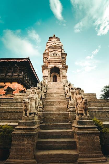 Hindoeïstische tempel op bhaktapur durbar square, nepal Gratis Foto