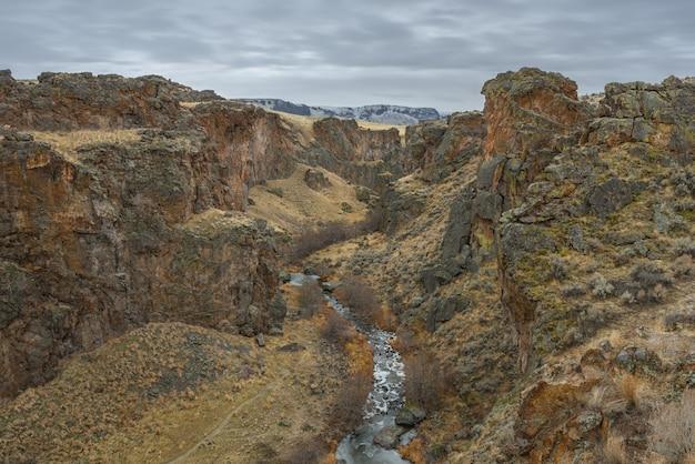 Hoge hoek die van een rivier in het midden van woestijnbergen is ontsproten met een bewolkte hemel Gratis Foto