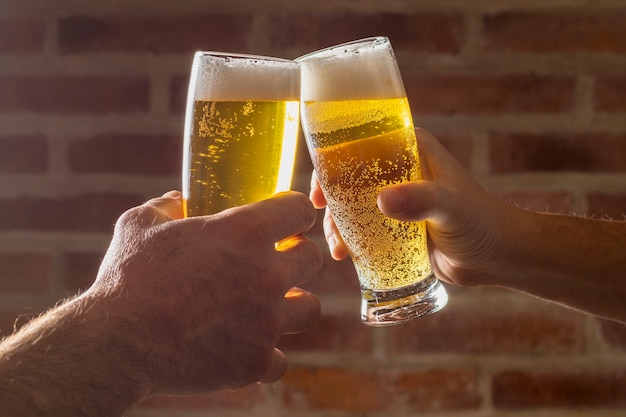 Hoge hoek juich groet met bier toe Premium Foto