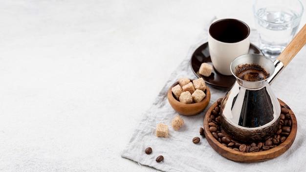 Hoge hoek van koffie met kopie ruimte Premium Foto