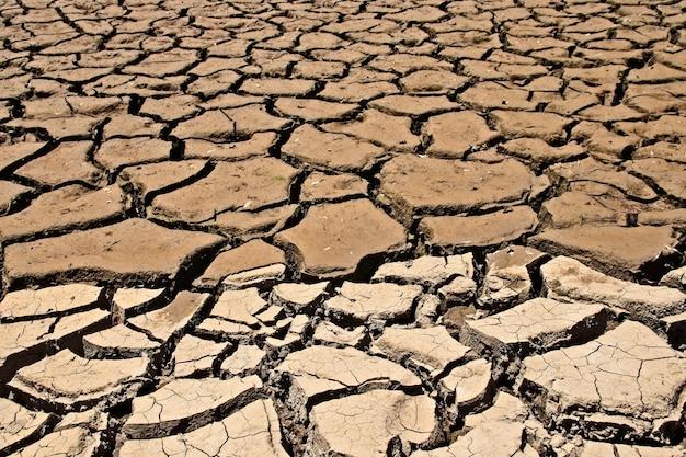 Hoge hoekopname van de gedroogde en gebarsten modderige grond Gratis Foto