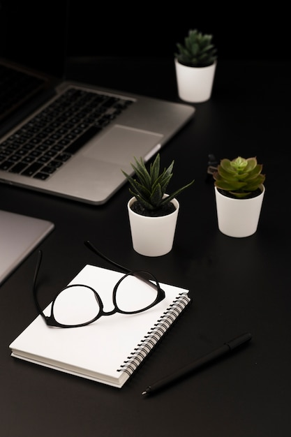 Hoge werkhoek met vetplanten en notebook Gratis Foto