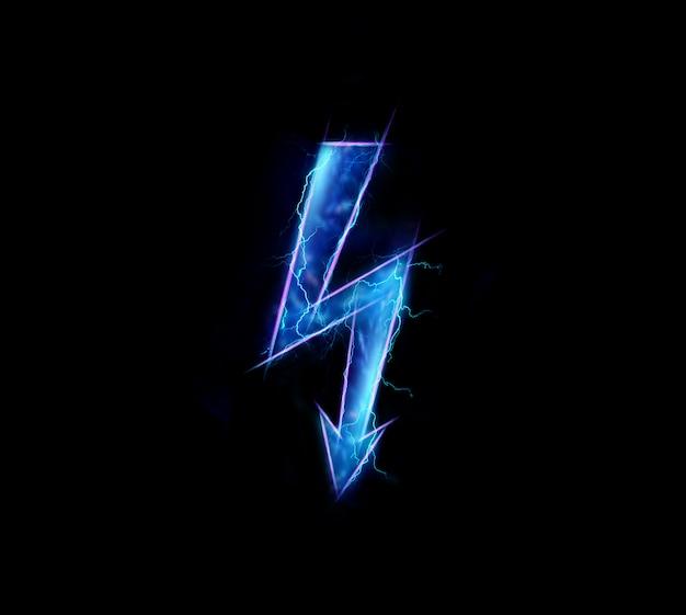 Hologram, het teken van elektriciteit, geïsoleerd op donkere achtergrond Premium Foto