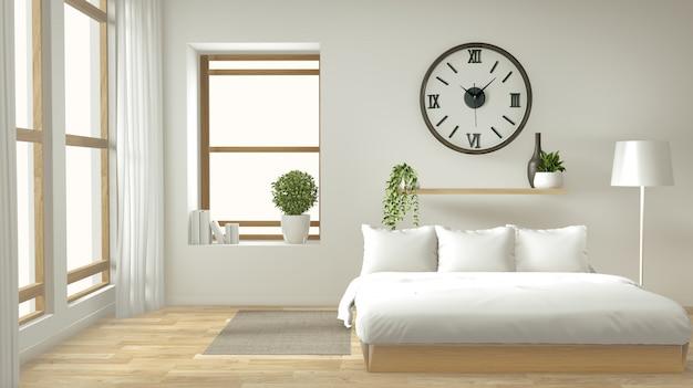 Home interieur muur mock up met houten bed, gordijnen en decoratie japanse stijl stijl in zen slaapkamer Premium Foto
