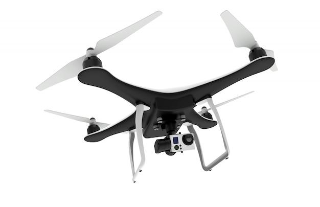 Hommel met digitale camera die op wit vliegt Premium Foto