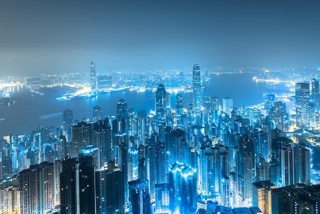 Hong kong city-horizon bij zonsopgang. Premium Foto