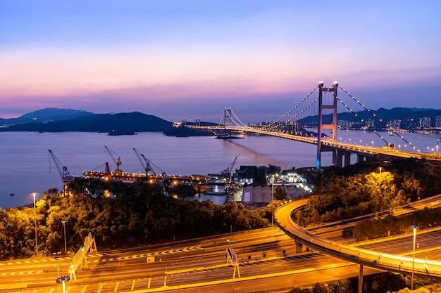 Hong kong tsing ma bridge Premium Foto