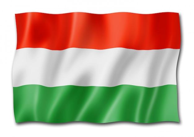 Hongaarse vlag die op wit wordt geïsoleerd Premium Foto