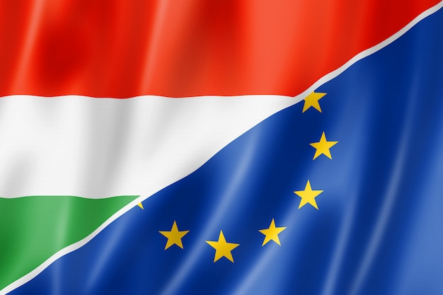 Hongarije en europa vlag Premium Foto