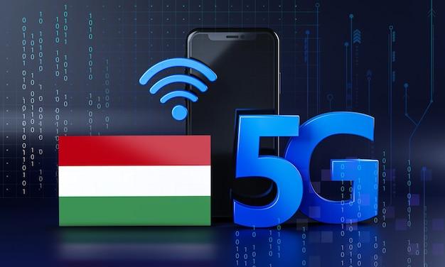 Hongarije klaar voor 5g-verbindingsconcept. 3d-rendering smartphone technische achtergrond Premium Foto