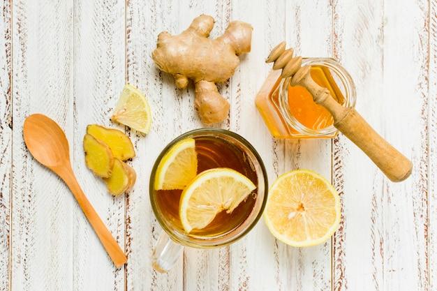 Honingpot met citroen en gember Gratis Foto