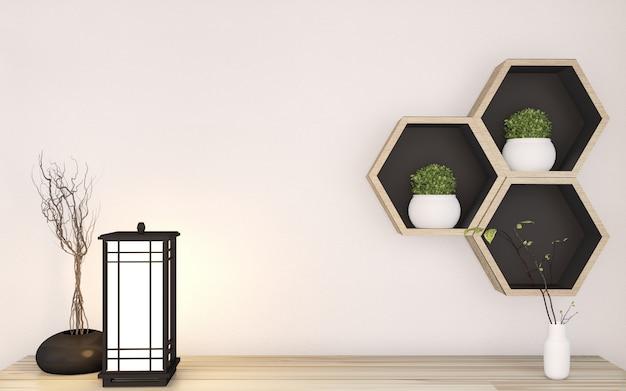 Hoogste kabinets zen stijl op ruimte japanse minimale binnenlandse en hexagon plank houten op muurachtergrond. 3d-weergave Premium Foto