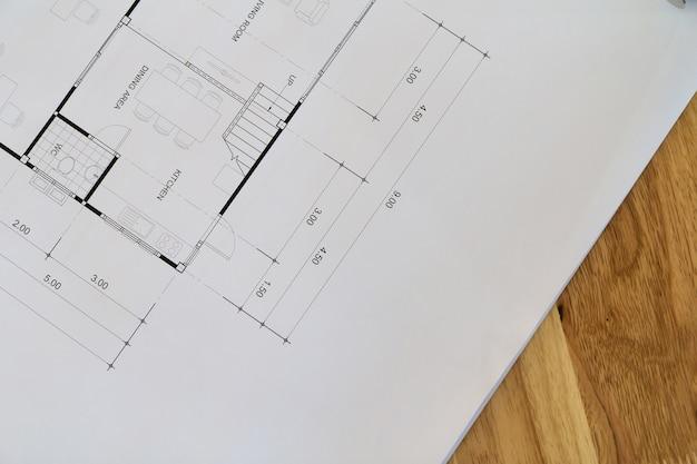 Hoogste mening van een architecturale blauwdruk met zwart-witte details op architectenbureau Premium Foto