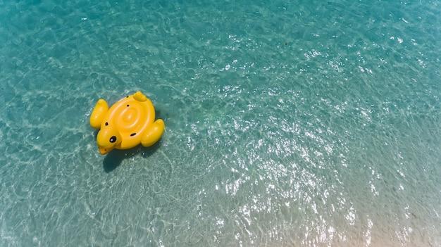 Hoogste mening van hemel van eend zwemmende reddingsboei. Premium Foto