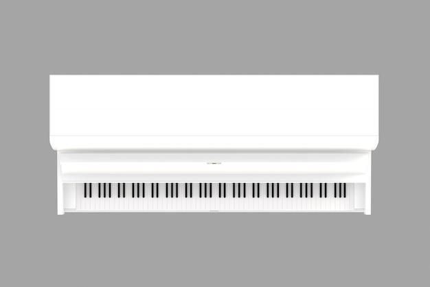 Hoogste mening van klassieke muziekinstrument witte geïsoleerde piano, toetsenbordinstrument, het 3d teruggeven Premium Foto